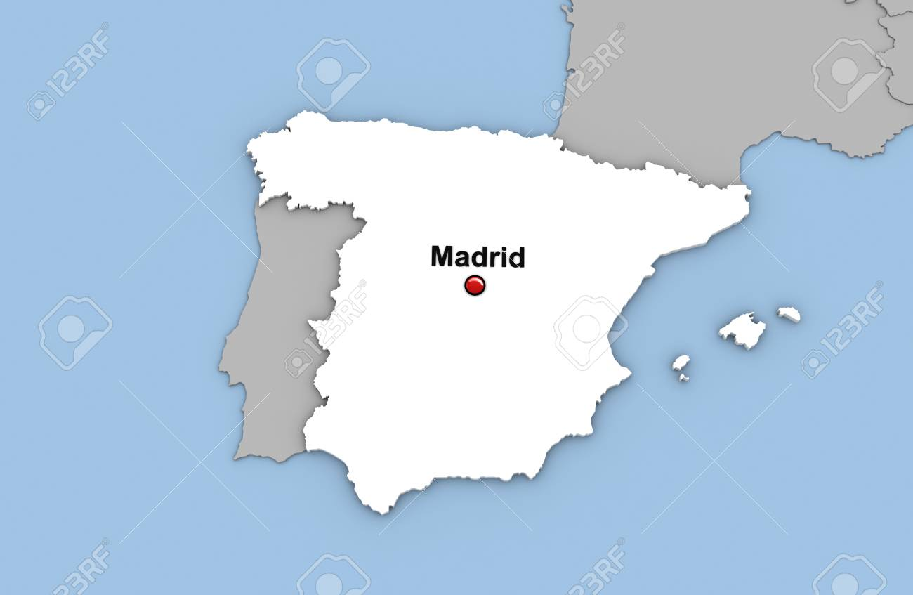 Abstract 3d Render Of Map Of Spain Highlighted In White Color