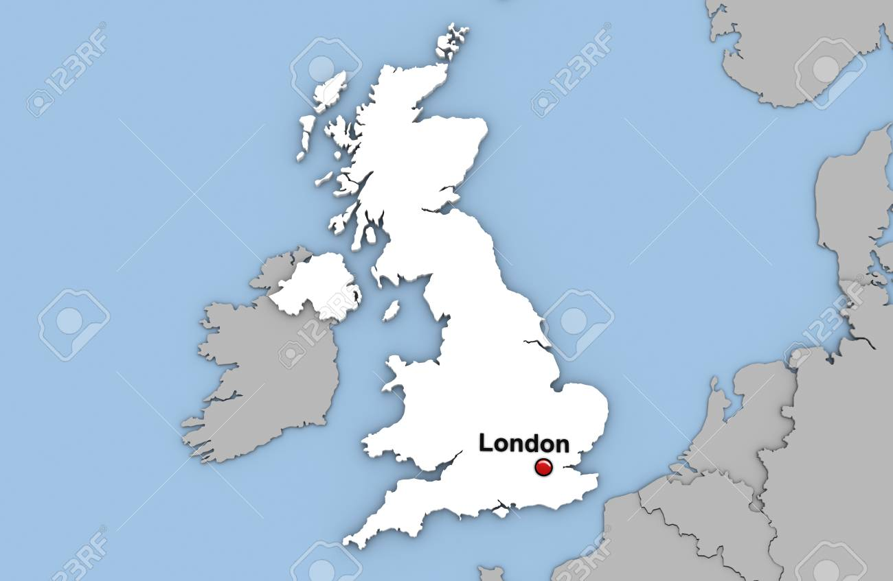 Abstract 3d render of map of United Kingdom highlighted in white..