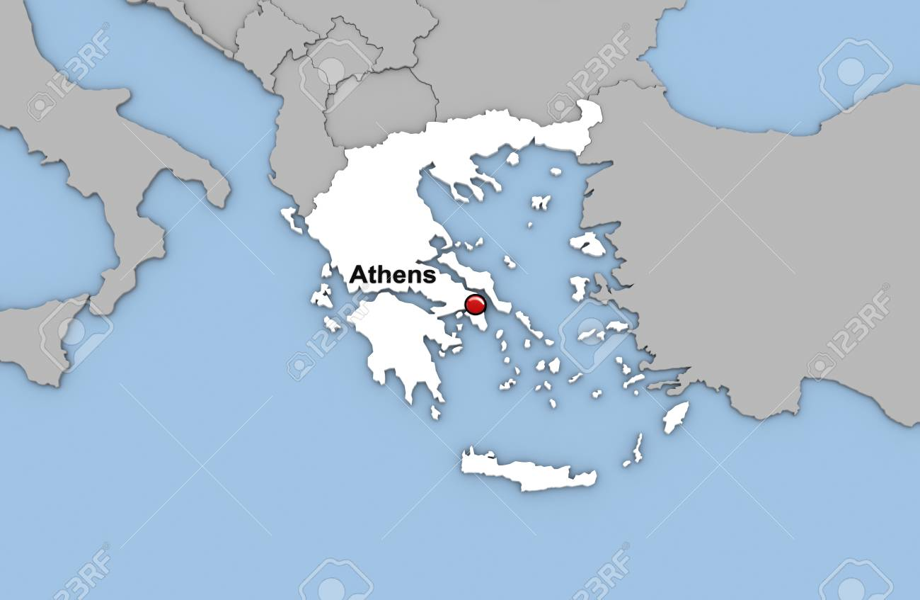 Abstract 3d render of map of greece highlighted in white color and abstract 3d render of map of greece highlighted in white color and location of the capital gumiabroncs Image collections