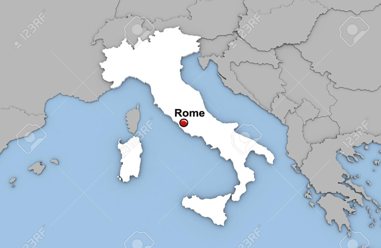 Abstract 3d render of map of Italia highlighted in white color..