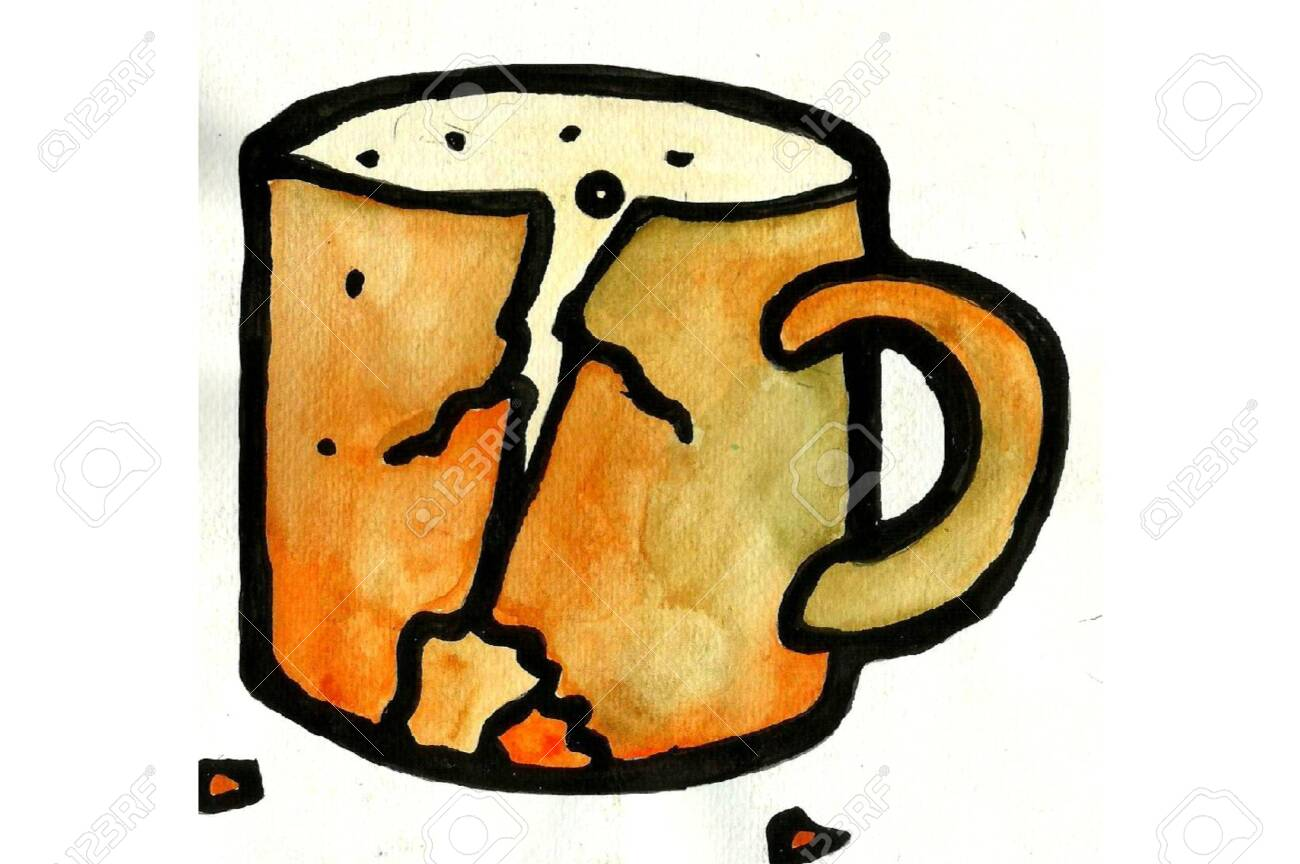 A Broken Cup Of Tea Drawing Stock Photo Picture And Royalty Free Image Image 153554104