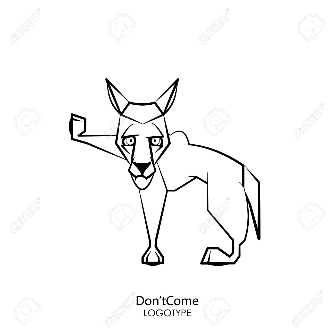 Cartoon character of a forest animal. Funny cool wolf standing posing on a white background. Vector illustration. Do not come, I was offended! Stop! - 124964917