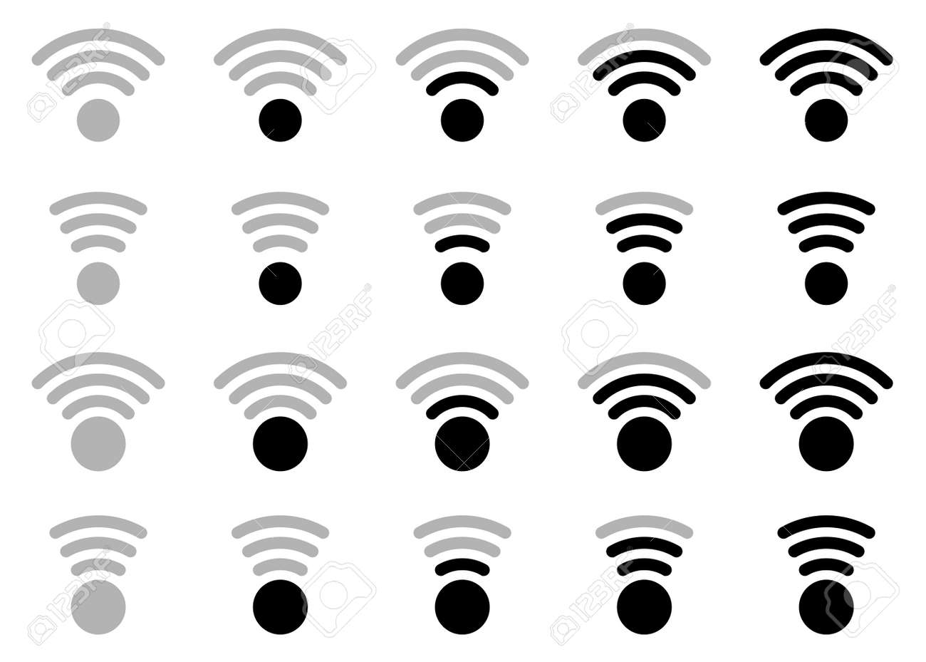 Wireless network icon set - wi fi. Web signs for electronic devices, applications and other resources. Vector isolated elements. - 169197353