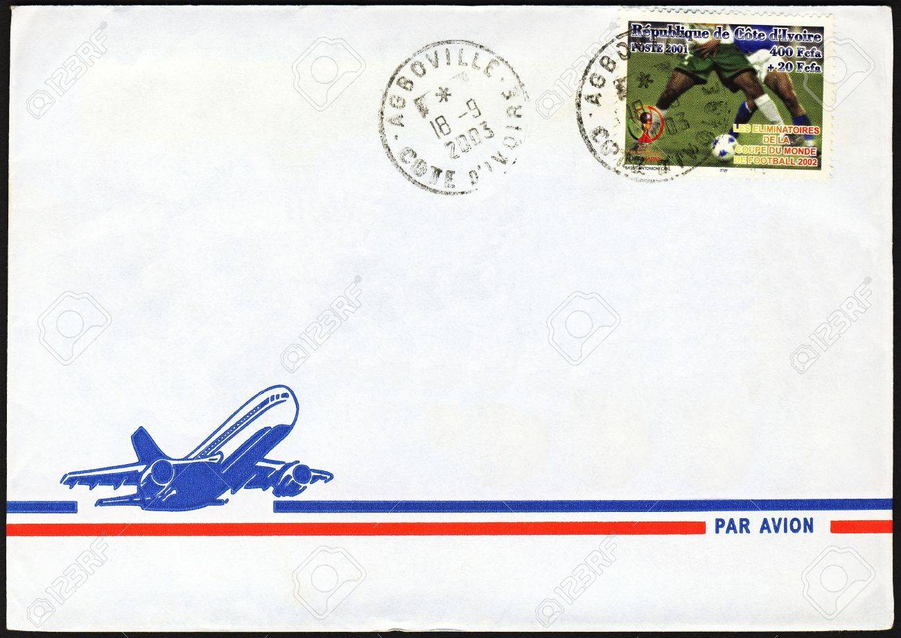 Blank air mail letter from Ivory Coast with football world cup stamp on it cancelled in Agboville Stock Photo - 9237063
