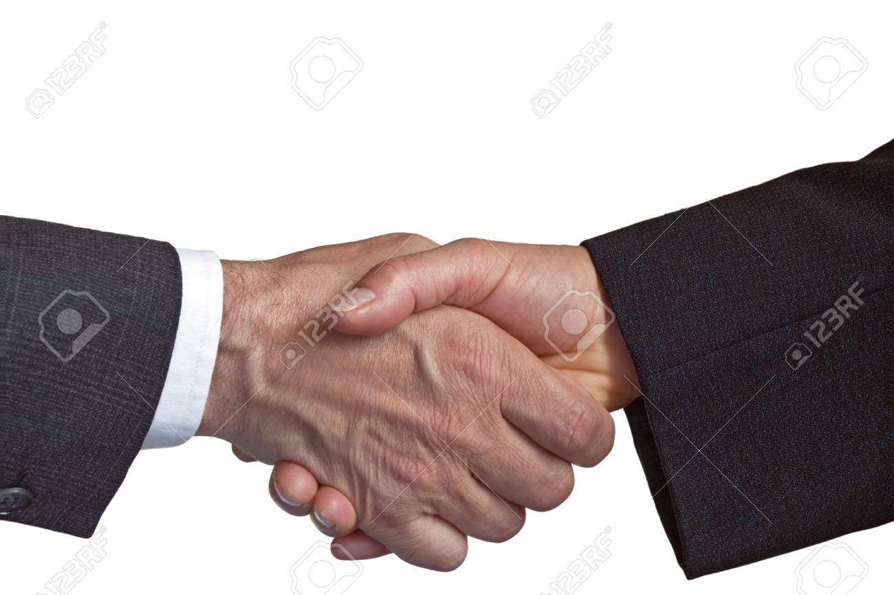 handshake isolated on white Stock Photo - 11719048