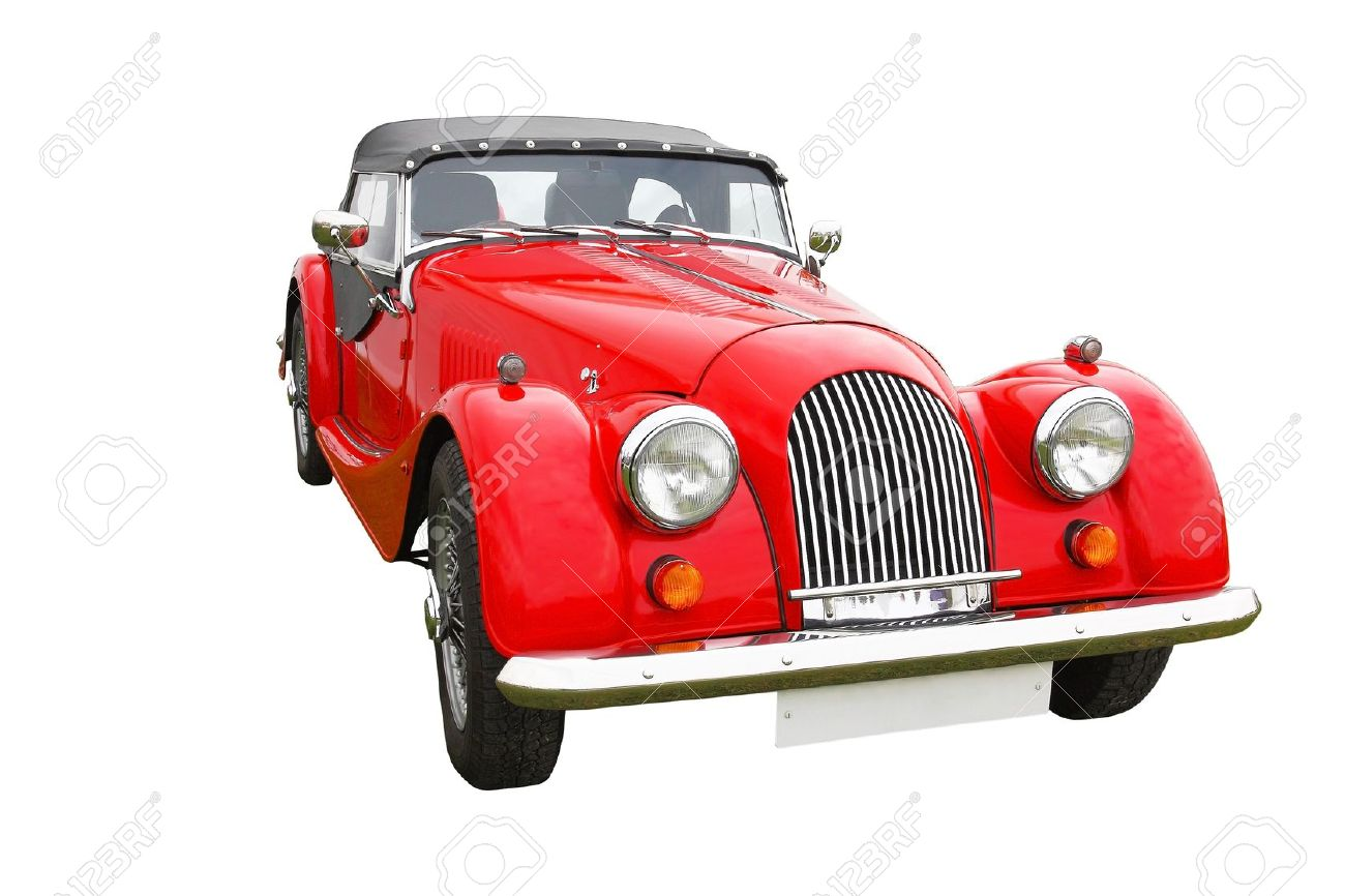 Old Vintage Red Classic Convertible Car Isolated On White ...