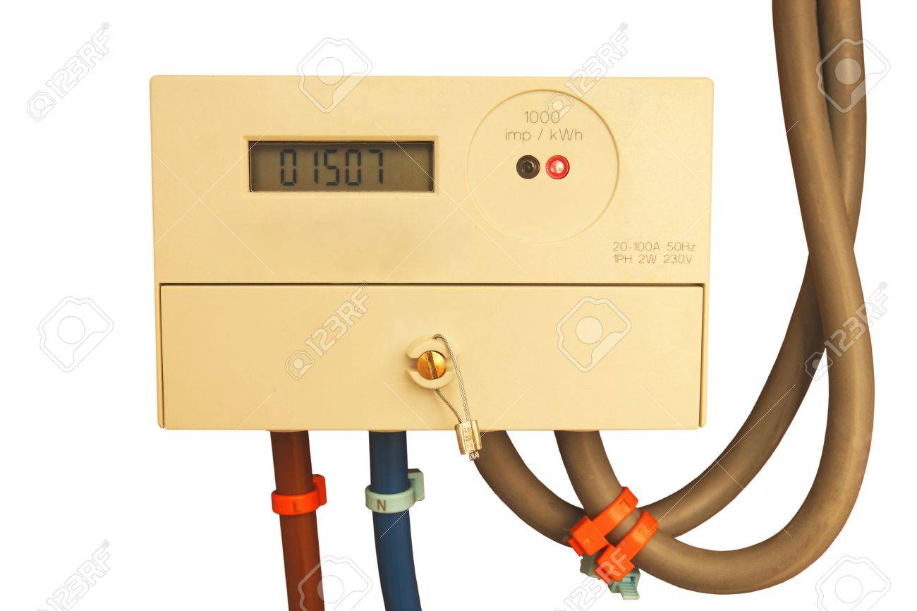 Modern digital electrical meter with cables isolated on white background Stock Photo - 13179548
