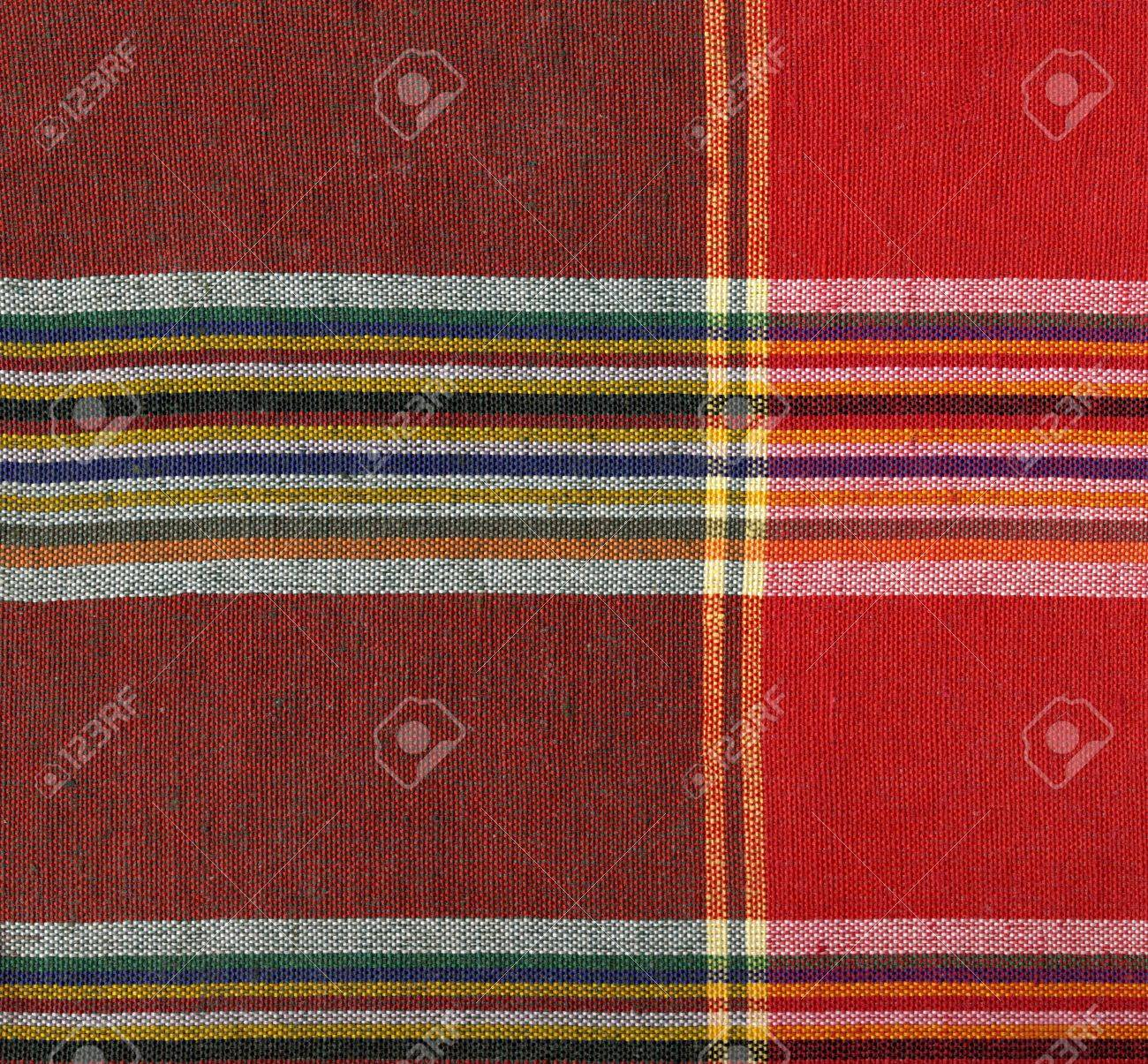 Red and yellow square fabric pattern background Stock Photo - 16683585