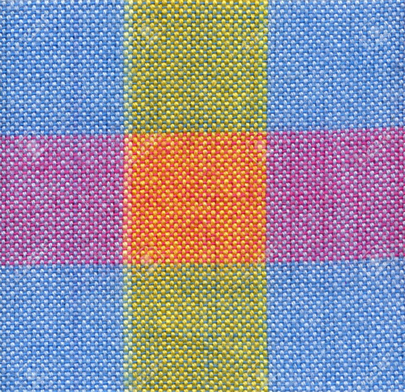 Close Up Blue, Red And Yellow Square Fabric Pattern Background ...