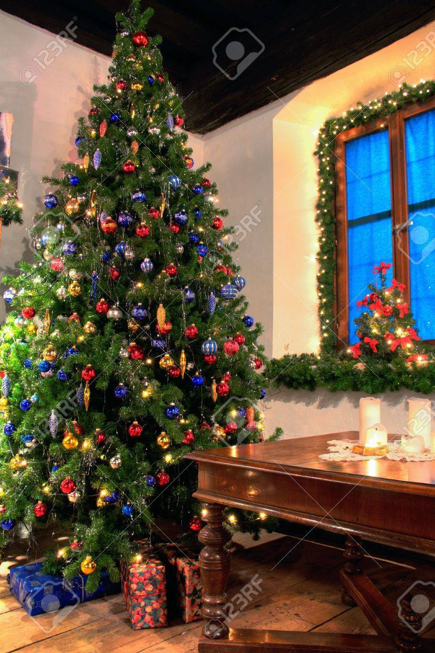 Christmas Tree in a Rural Living Room Stock Photo - 5709791
