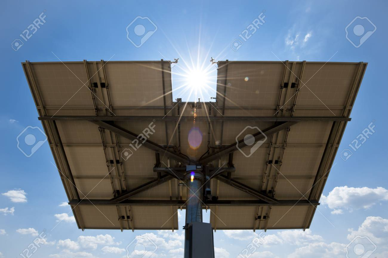 Solar Panel from Behind with Sun and Lens Flare Stock Photo - 7266758