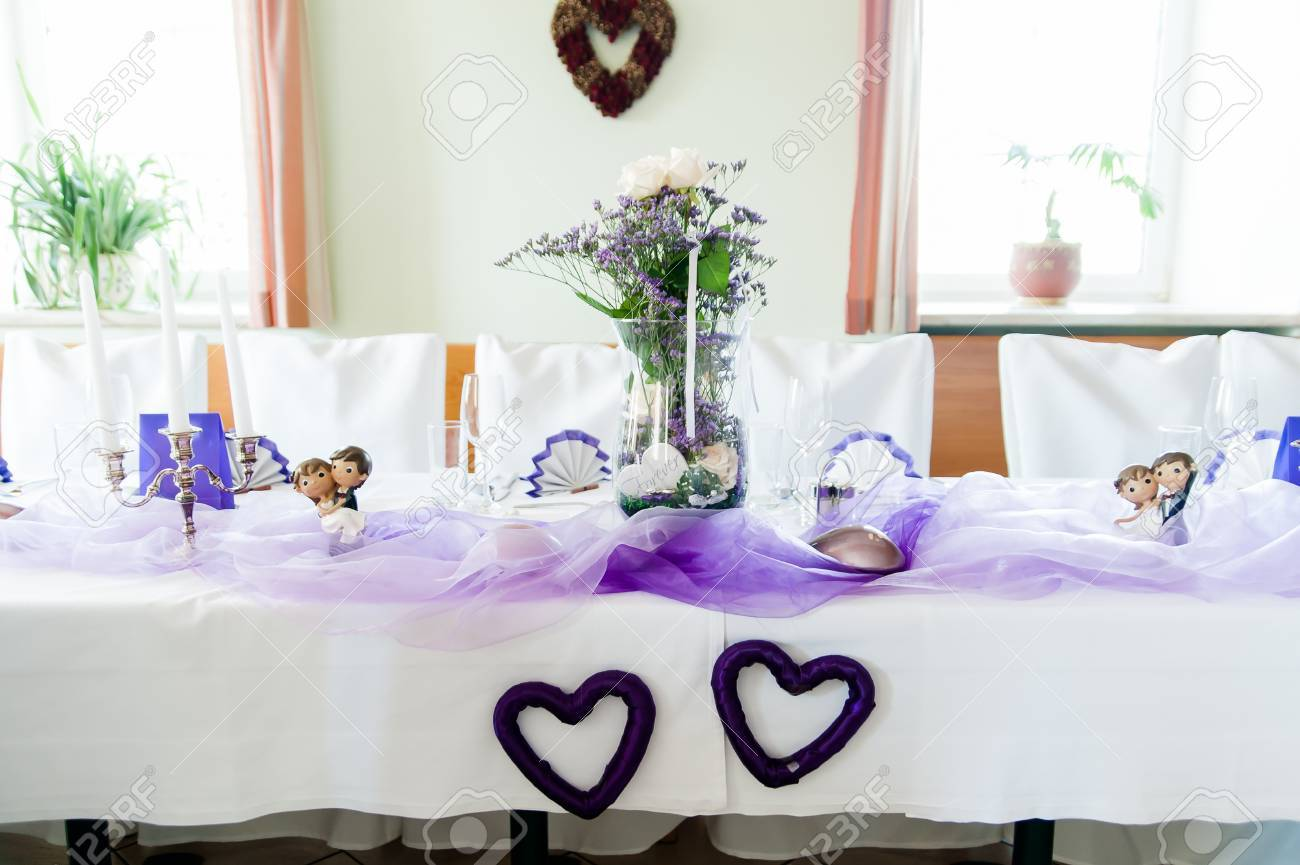 Festive Wedding Table With Purple Decoration Stock Photo, Picture ...