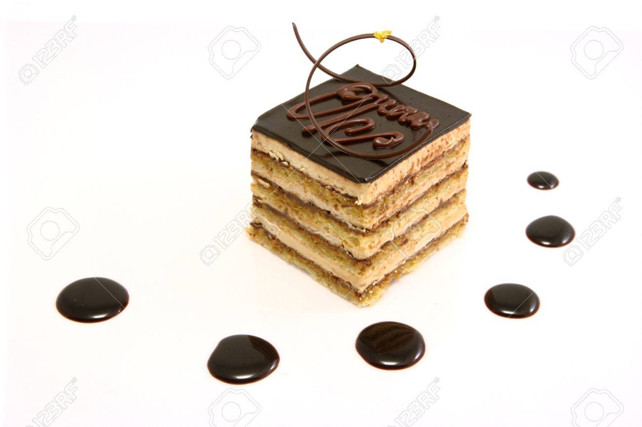 A Delicious Opera Cake Shot On White Stock Photo Picture And