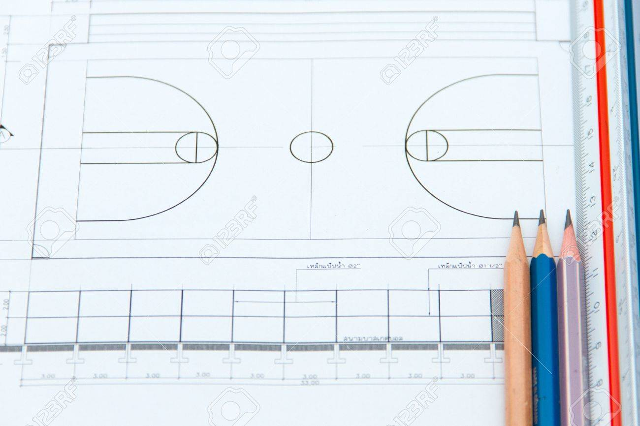 drawings for building a basketball court stock photo picture and