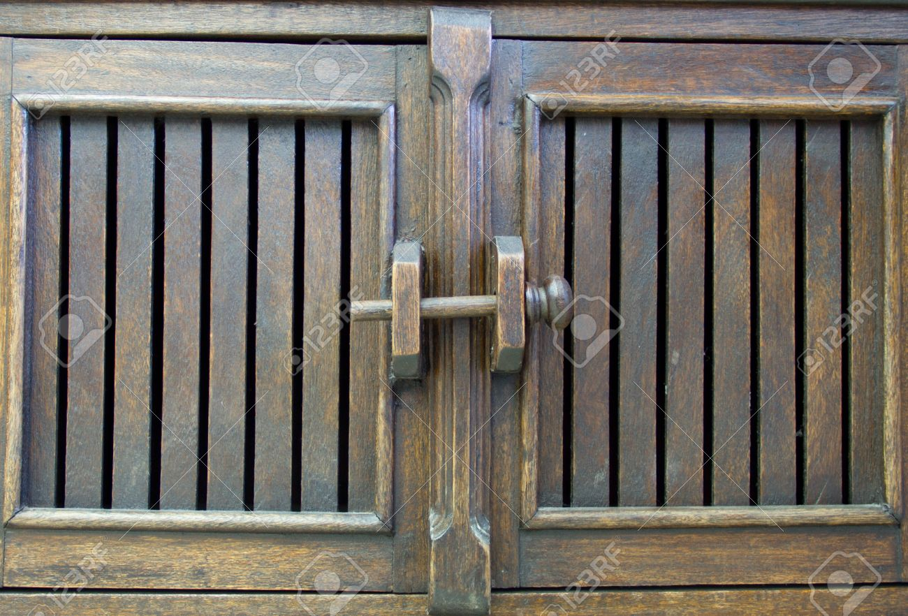 Wooden Door Latch On Antique Wooden Cabinets Stock Photo, Picture ...