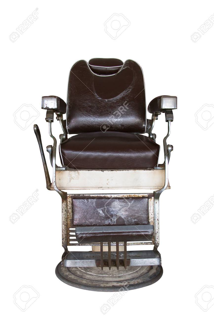 Old barber chair on white background Stock Photo - 22839108