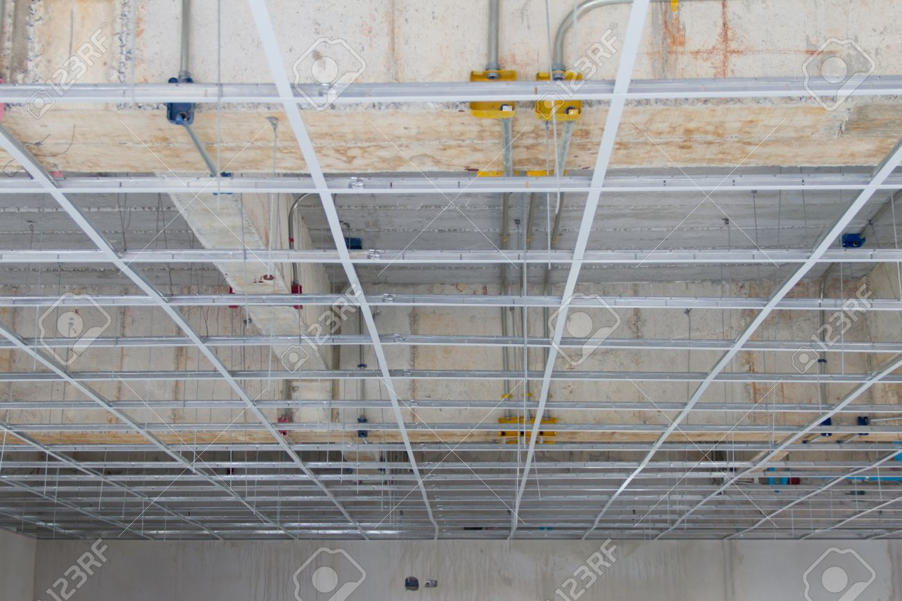 Installation False Ceiling Gypsum Board Stock Picture