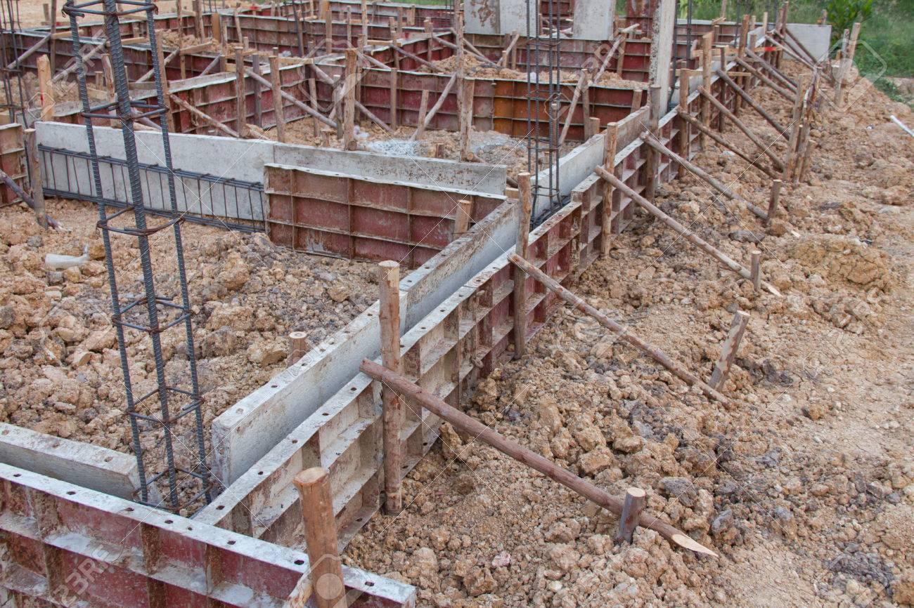 Formwork concrete ground beams