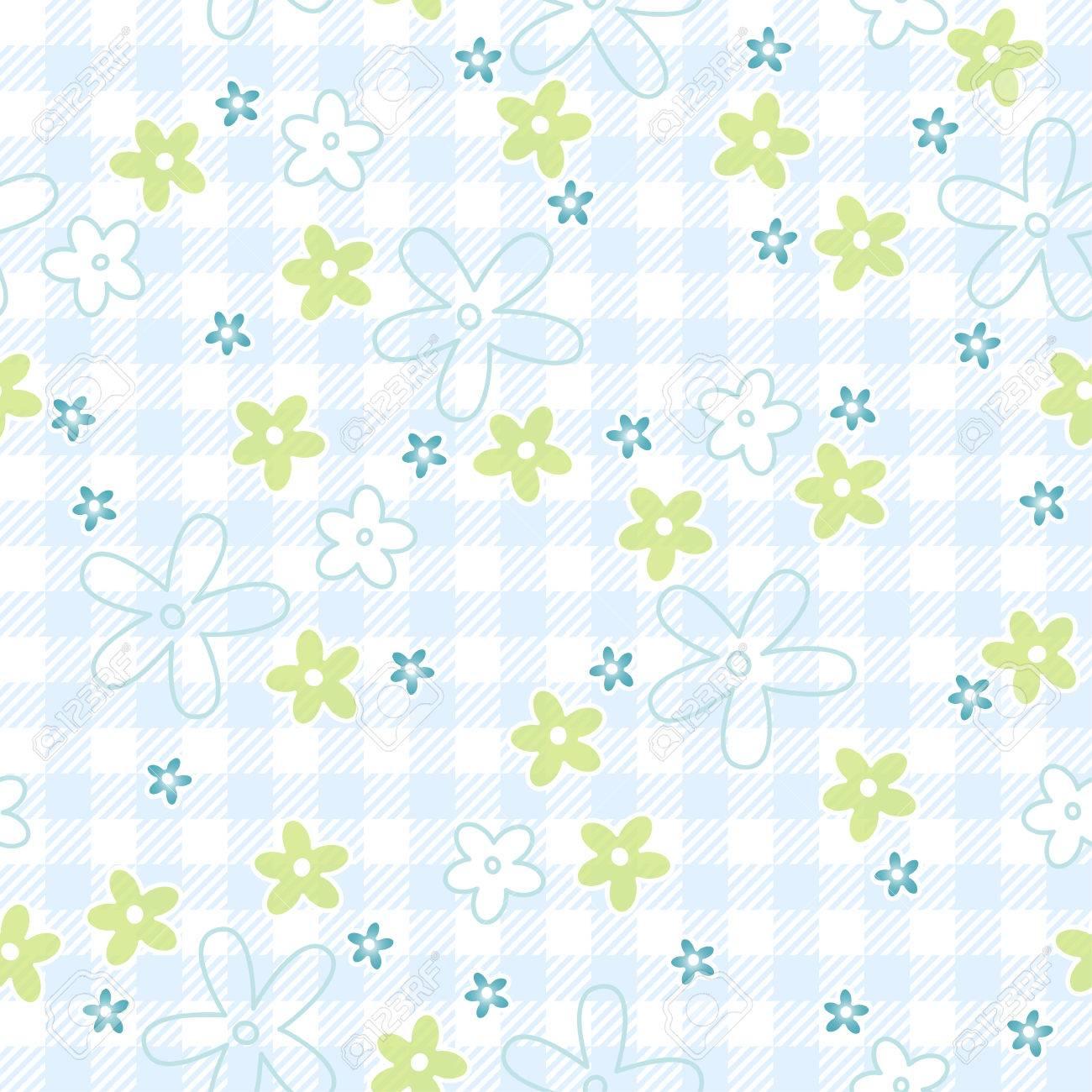 Flores Azules Y Verdes Sobre Fondo Sin Fisuras Cuadro De Tela A