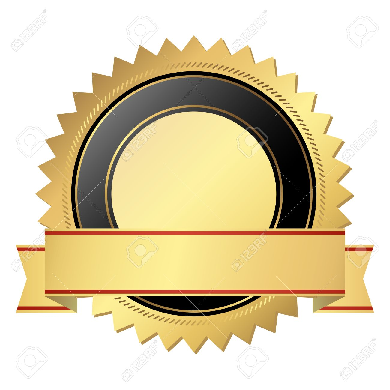 Vector Template Seal Of Quality Gold With Banner Royalty Free