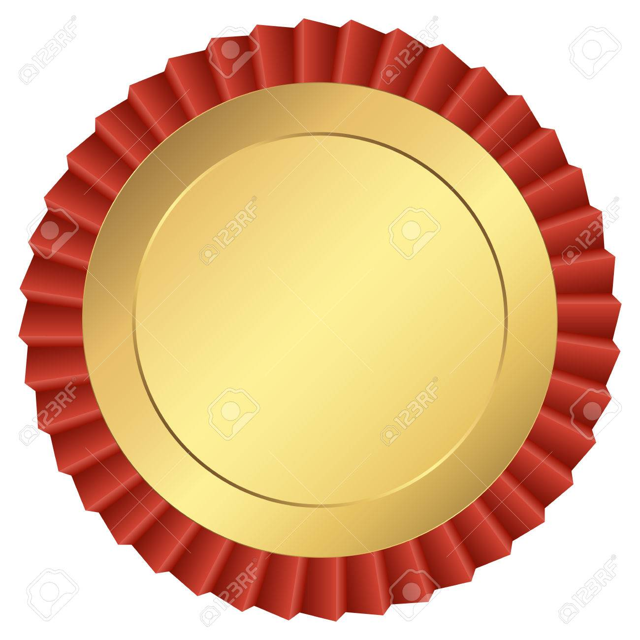Gold Button Template With Red Ribbon Royalty Free Cliparts, Vectors ...