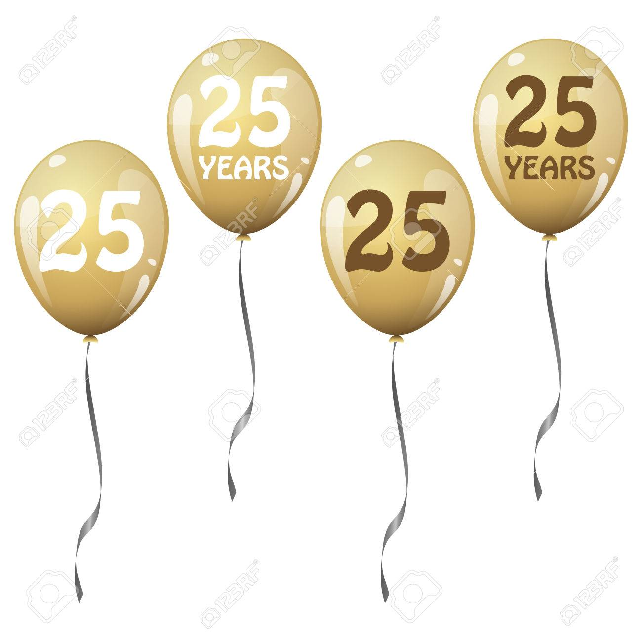 Four golden jubilee balloons for 25 years royalty free cliparts four golden jubilee balloons for 25 years stock vector 39594262 kristyandbryce Choice Image