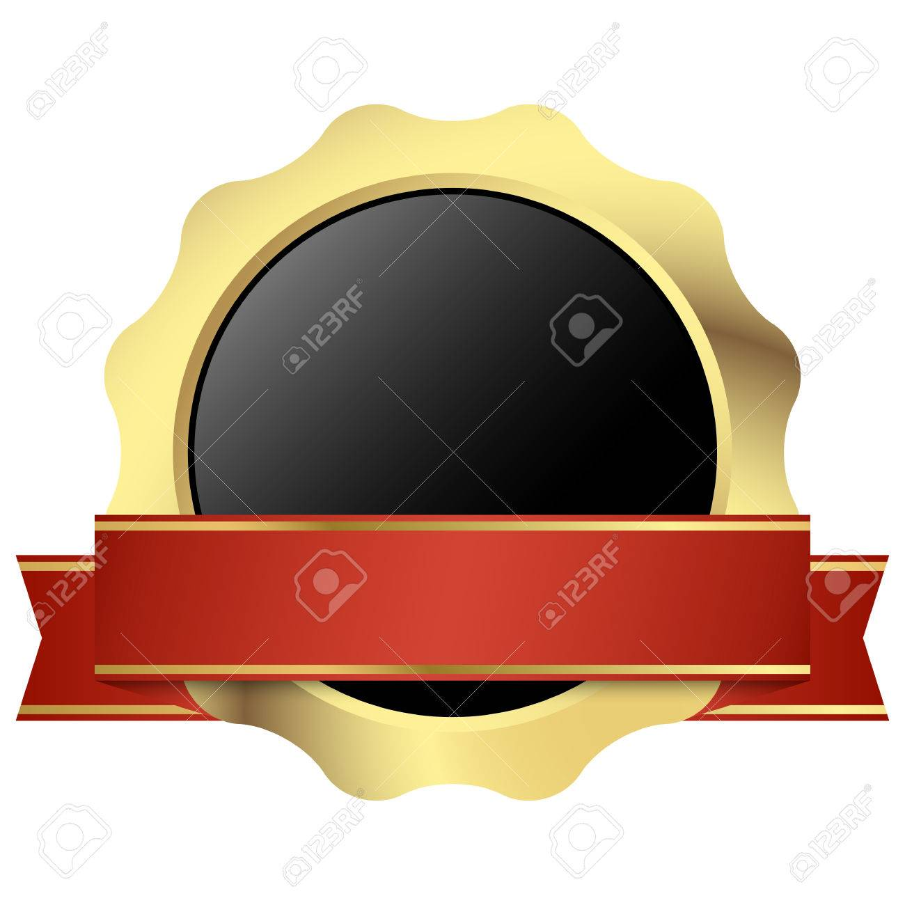 Gold Seal Of Quality Template With Red Banner Royalty Free ...