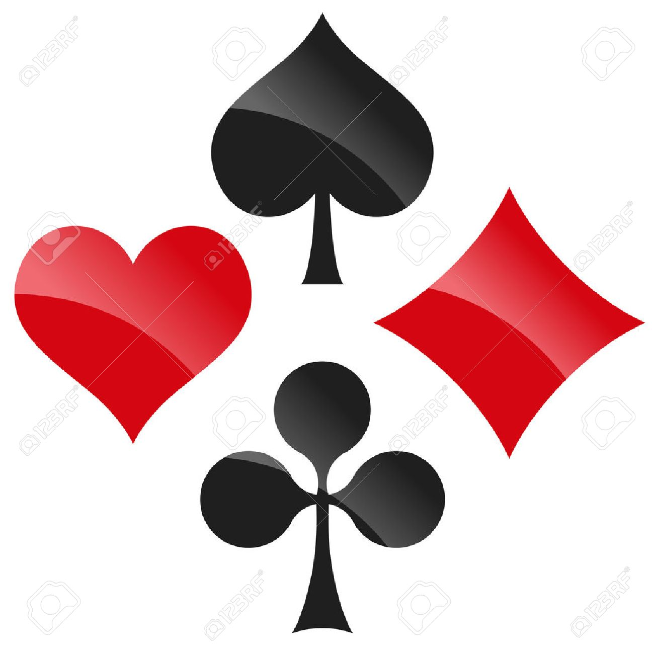 French playing cards symbols hearts tiles clovers and pikes french playing cards symbols hearts tiles clovers and pikes with reflection stock vector biocorpaavc