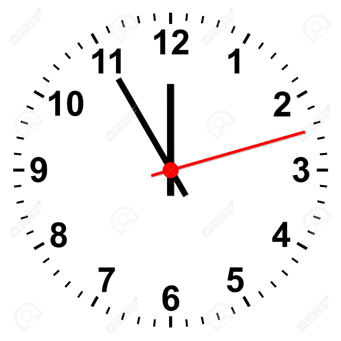 Simple isolated clock showing time five minutes before twelve - 47397763