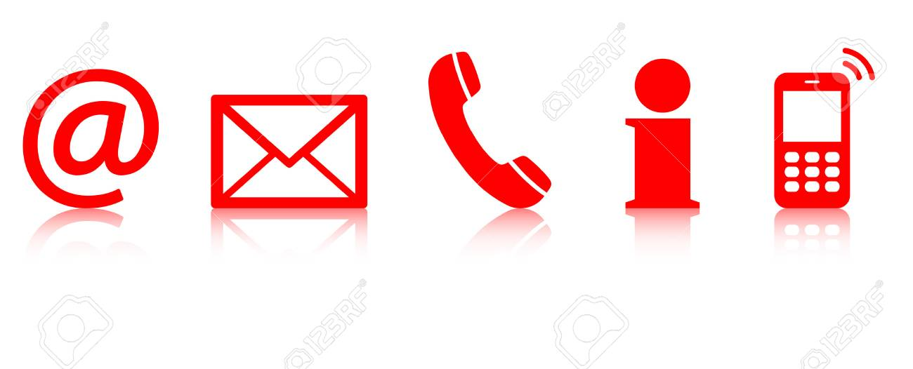 Contact US >> Contact Us A Set Of Red Colored Icons With Reflection