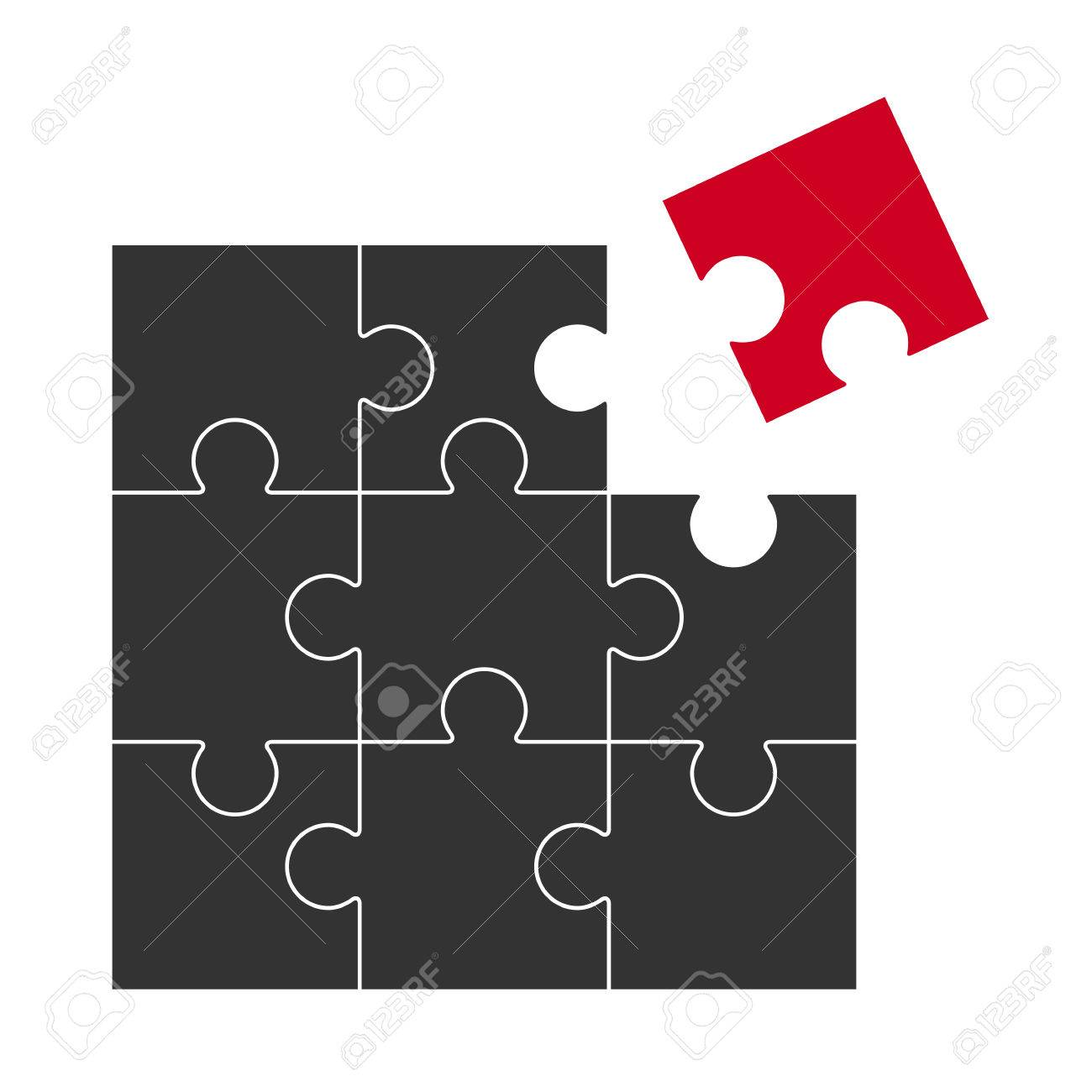 black puzzle with one red part who does not fit royalty free