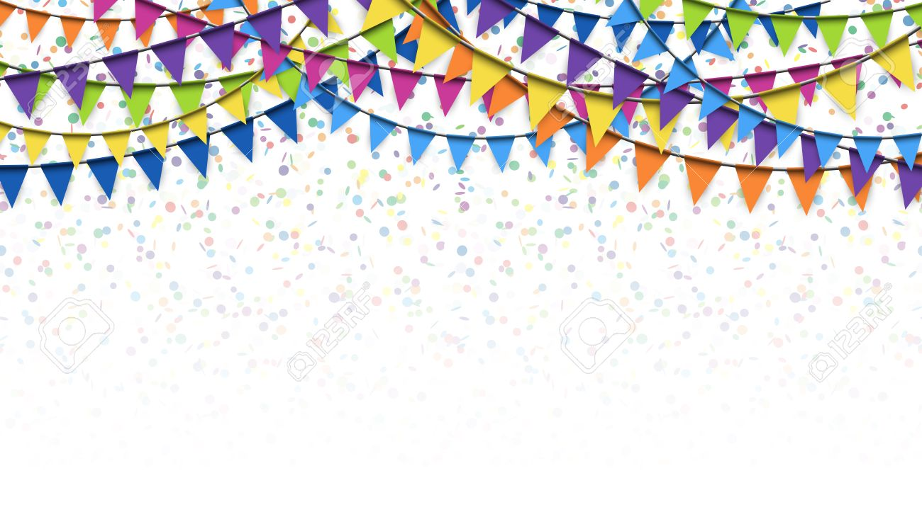 colored garlands and confetti background for party or festival