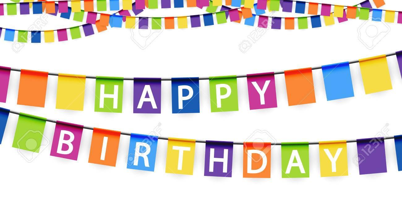 Guirnaldas De Color De Fondo Con El Texto Blanco Feliz Cumpleaños ...