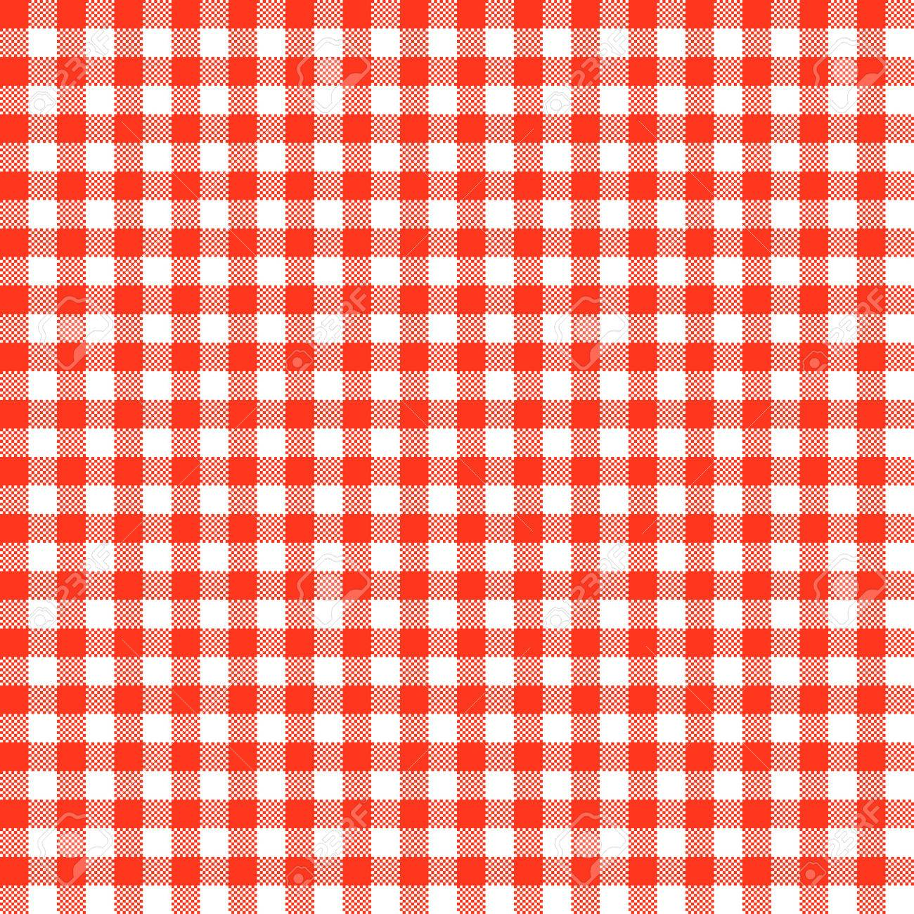 Vector   Vintage Checkered Table Cloth Background Colored Red