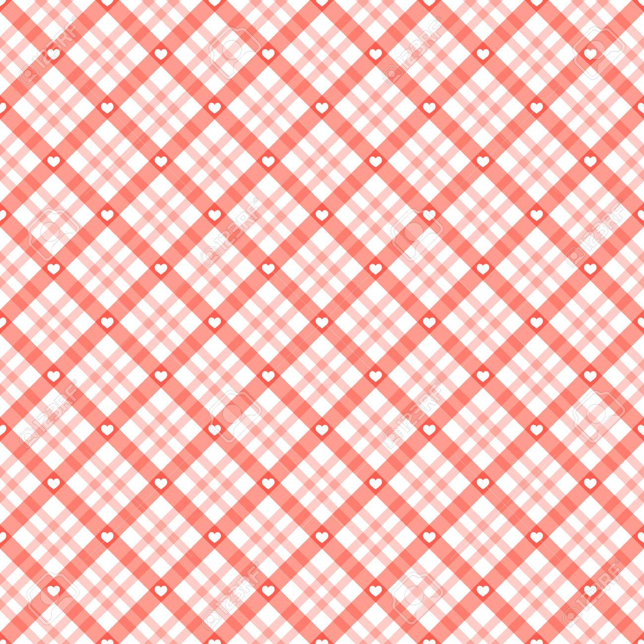 Red Checkered Table Cloth Background With White Hearts Stock Vector    55130877