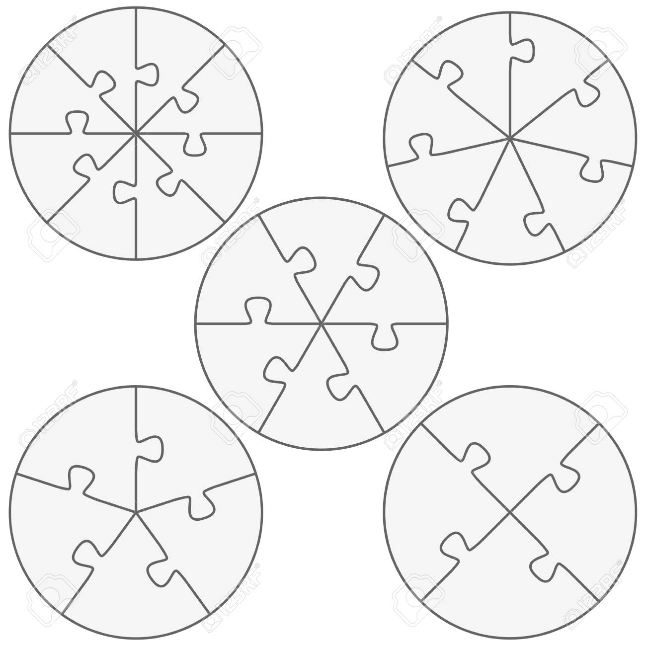 Five Round Puzzle Templates With Different Number Of Pieces Royalty ...
