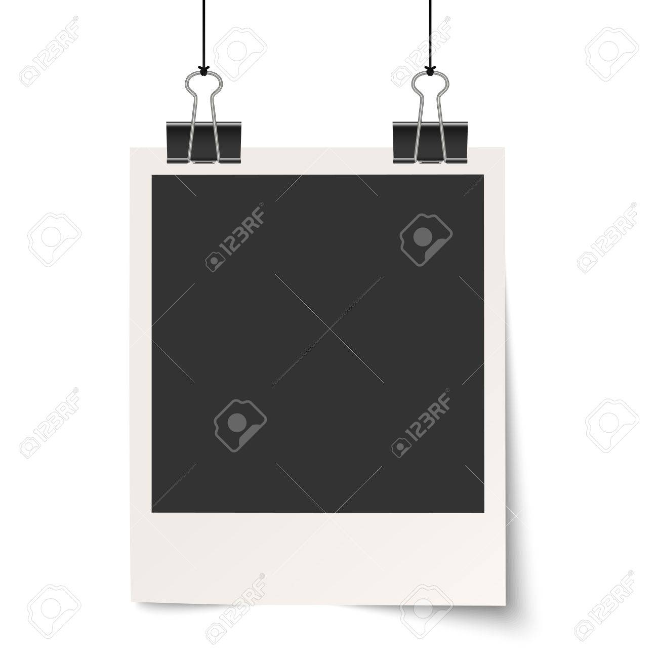 Vector  Old Empty Photo With Binder Clips Hanging At Black Twine