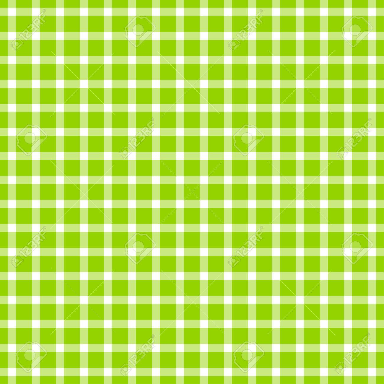 Checkered Design Seamless Green Colored Checkered Table Cloth Pattern For