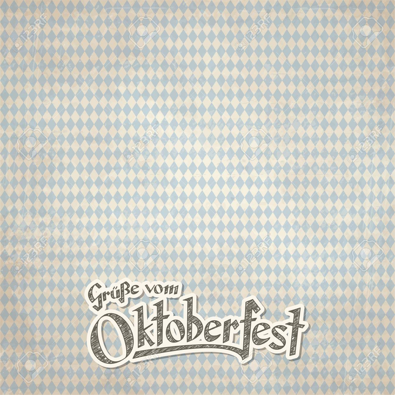 Old vintage background with checkered pattern and patch with old vintage background with checkered pattern and patch with text greetings from oktoberfest 2016 in m4hsunfo