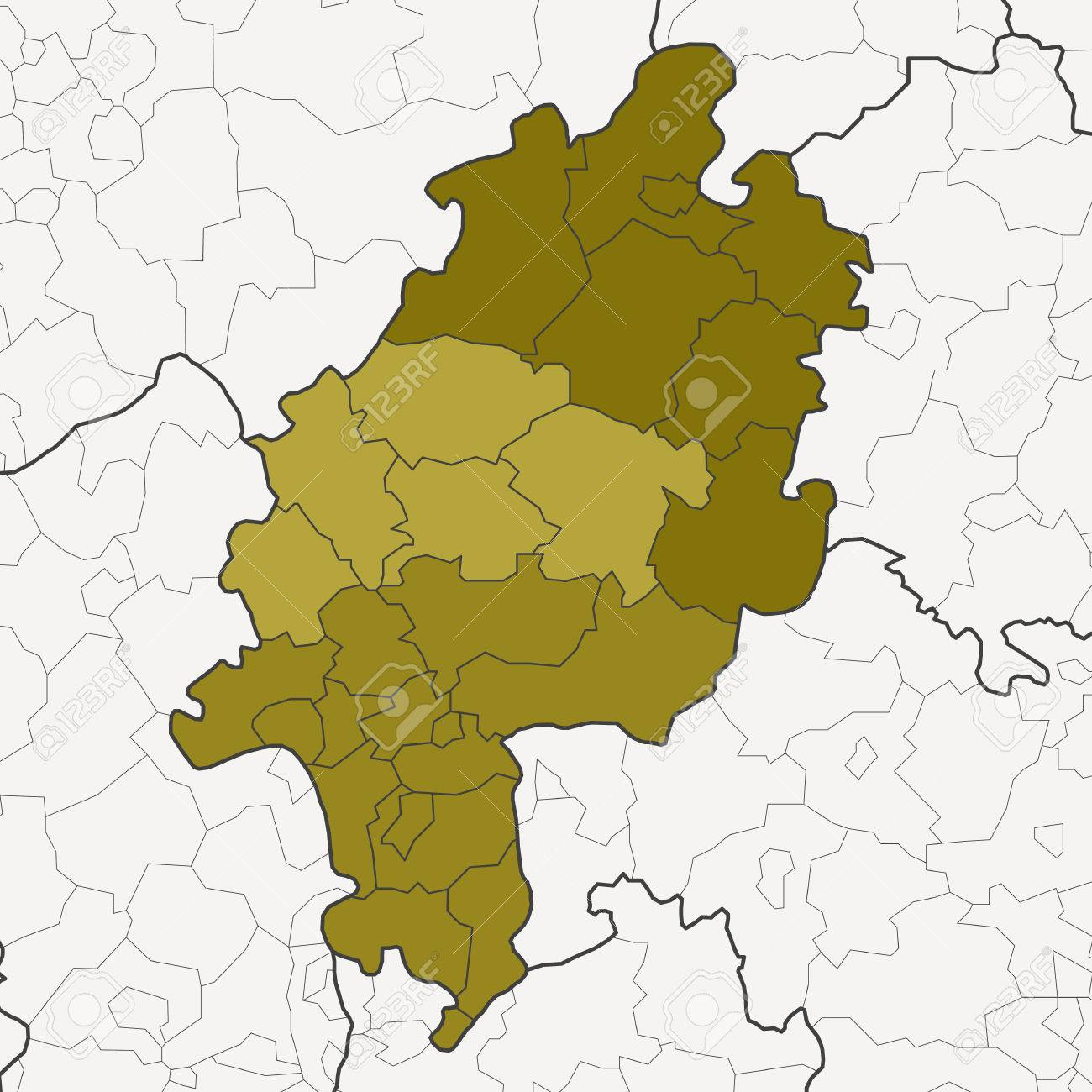 Map Of Germany Federal State Hesse With Neighboring Federal States