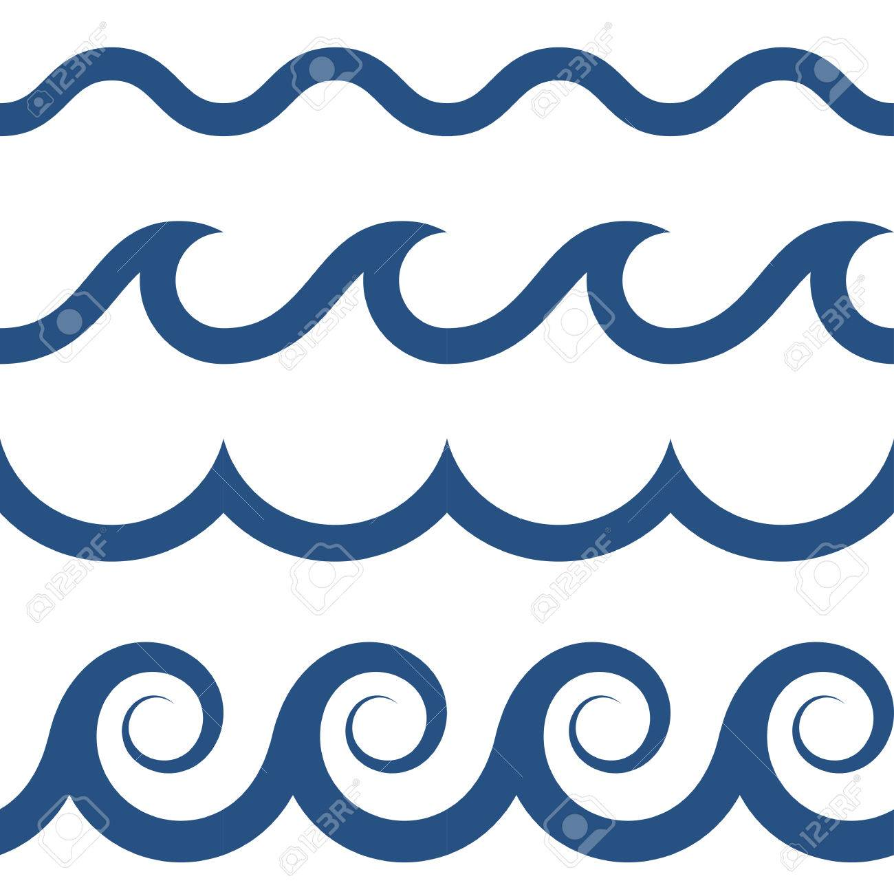 blue and white colored seamless Waves pattern - 65186962