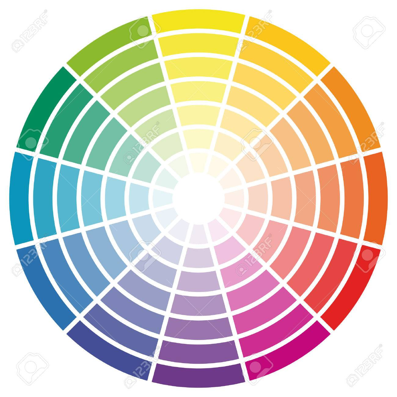 Illustration Of Printing Color Wheel With Different Colors In Gradations Stock Vector