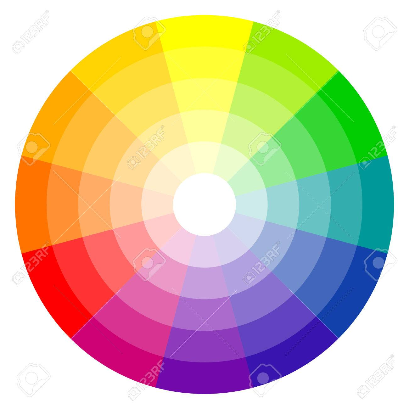 Illustration Of Printing Color Wheel With Twelve Colors In Gradations Stock Vector
