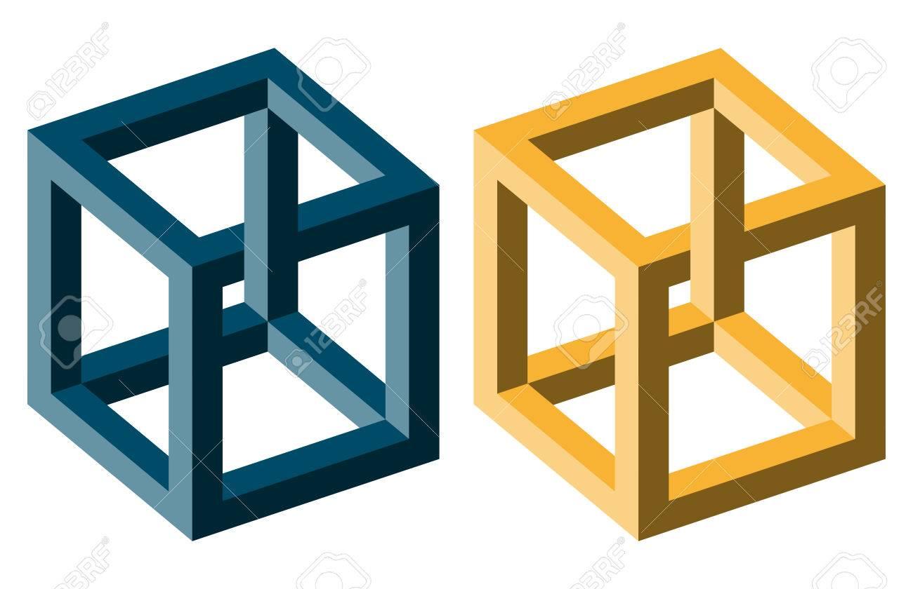 Illusion Optique Couleur des cubes d'illusion optique irréfléchis de couleur bleu et jaune