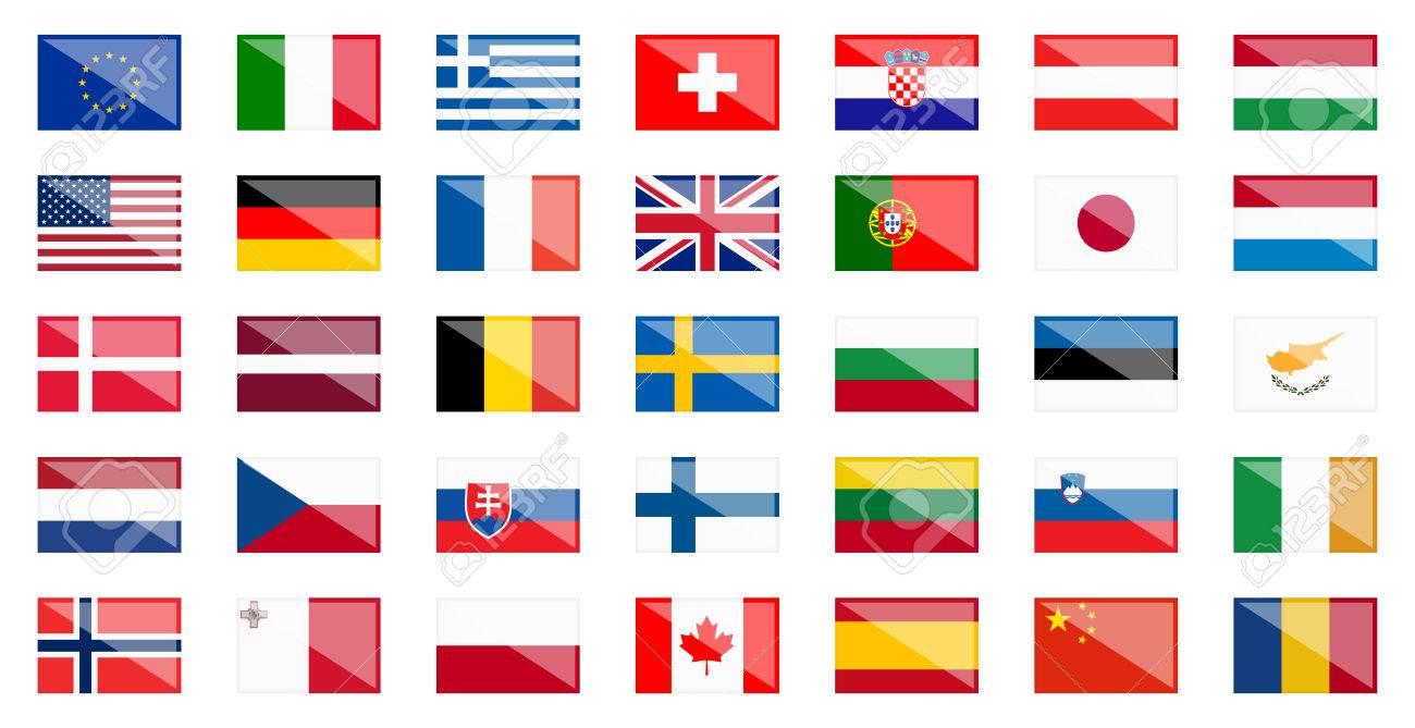 反射と欧米各国の国旗 ロイヤリ...