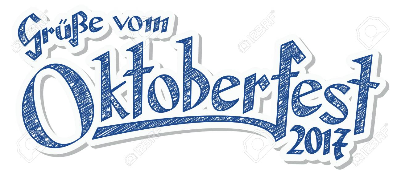 Blue and white header with scribble pattern and text greetings blue and white header with scribble pattern and text greetings from oktoberfest 2017 in german m4hsunfo