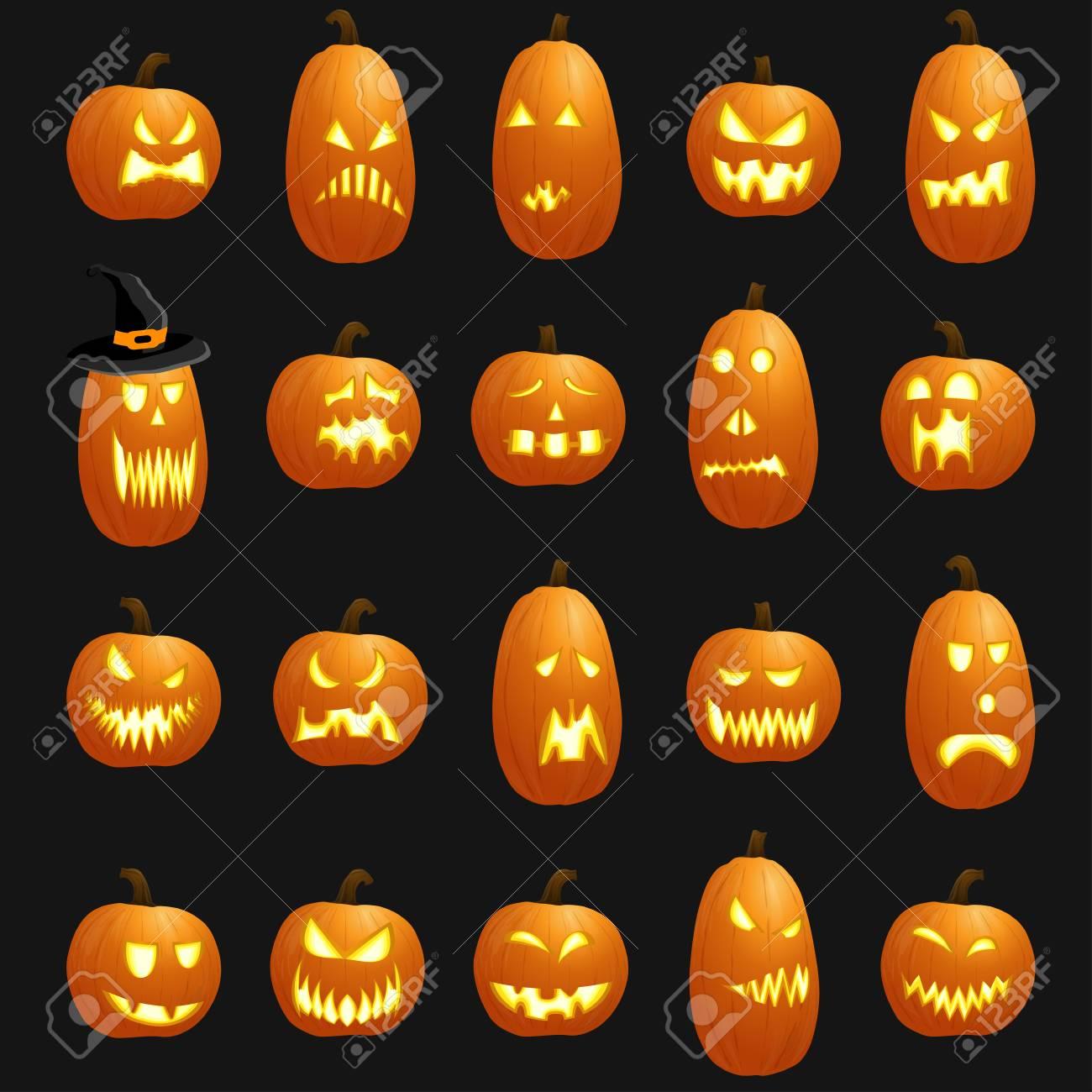 Colección De Diferentes Calabazas Ilustradas De Color Naranja Para Diseños De Halloween Ilustraciones Vectoriales Clip Art Vectorizado Libre De Derechos Image 87745988
