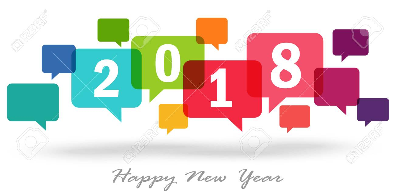 new year greetings with colored speech bubbles and text 2018 stock vector 89112437