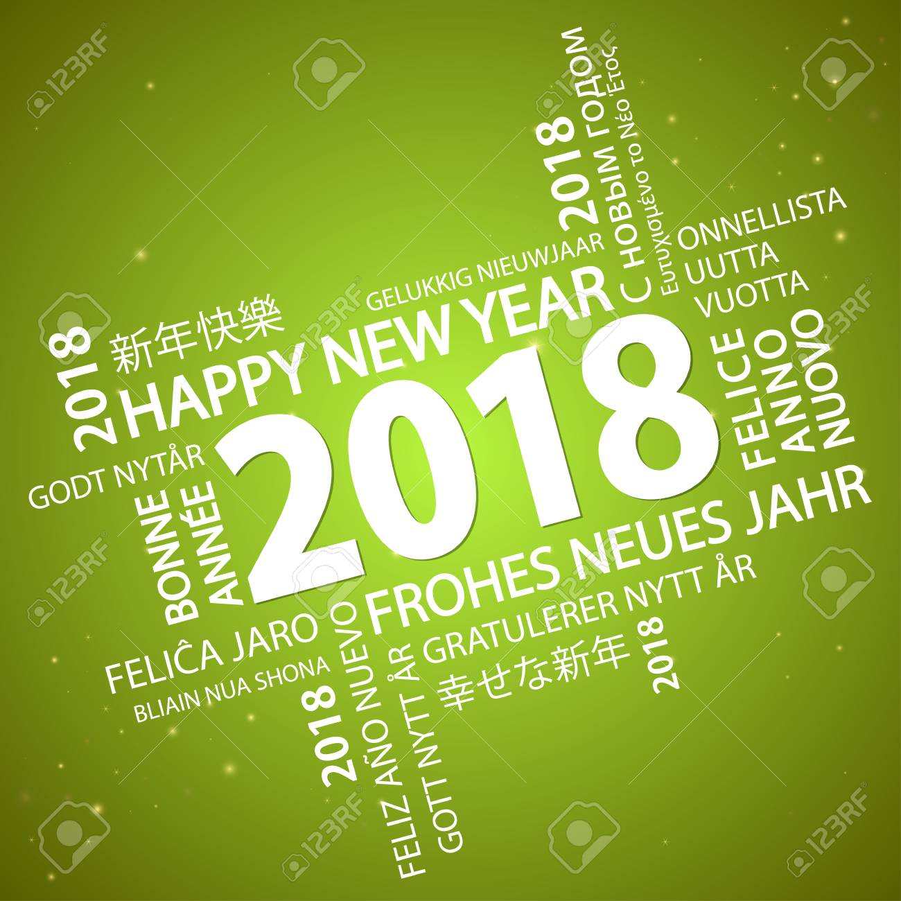 vector word cloud with new year 2018 greetings and green background