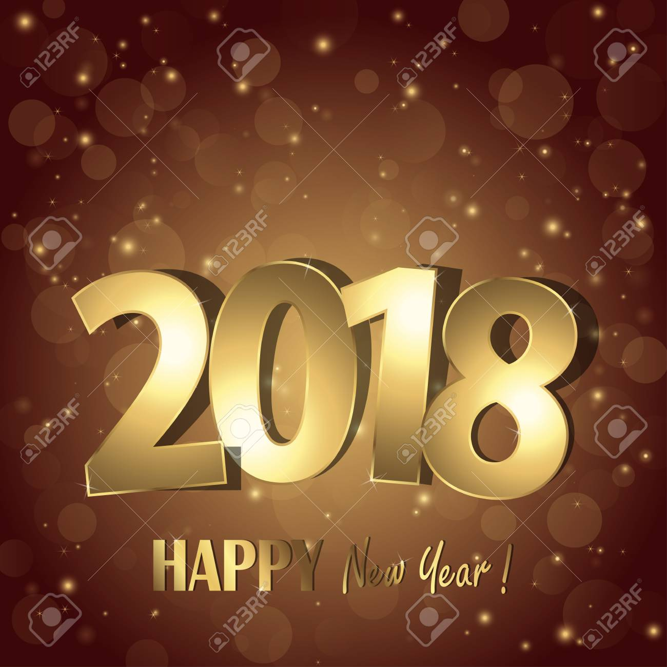 happy new year 2018 greetings with golden numbers and brown background stock vector 89990683